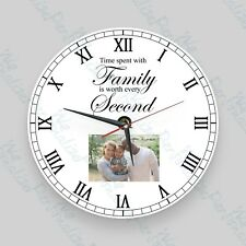 Personalised wall glass clock photo/text/logo Gift Family Loved One Christmas
