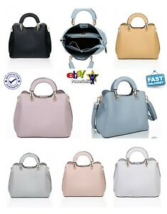 Girls Women's Stylish Multi Compartment Top Handle Faux Leather Plain Hand Bag
