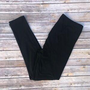 Black Solid Women's Leggings PS Plus Size TC 12-20 Soft as LLR