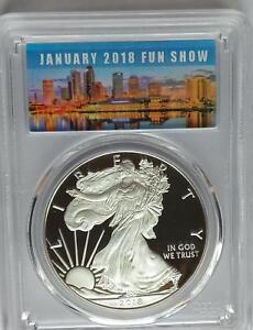PCGS PR70 First Strike 2018-W Proof Silver AMERICAN EAGLE Dollar Tampa FUN Show
