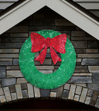 Large Glittering 3ft (91cm) Indoor Outdoor Christmas Wreath with 150 LED Lights