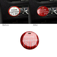 Carbon Fiber Engine Start Stop Switch Button Trim Cover For Ford Mustang 2015-19