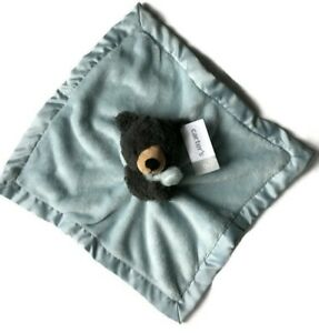 NWT Carters Black Bear Blue Security Blanket Plush Satin Baby Lovey Toy 67361