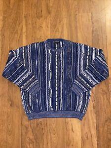Vintage Blue Via Europa Sweater 90s Biggie Hip Hop Australian Coogi Style XXL