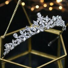 Luxury Rhodium Plated Lily Wedding / prom Tiara Set With AAA Cubic Zircnonias
