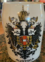 Vintage Austrian Mug Stein Original Handpainted King Crockery