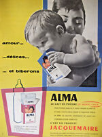 PUBLICITÉ DE PRESSE 1959 JACQUEMAIRE ALMA LE LAIT EN POUDRE DÉLICE ET BIBERON