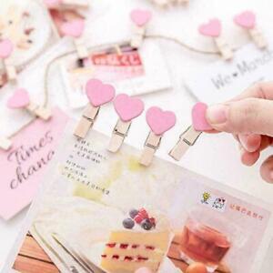 Photo Paper Clip Mini Wooden Wedding Decor Clip Crafts Love Pegs Fast Heart U1D5