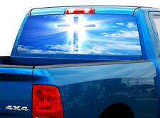 P521 Jesus Cross God Rear Window Tint Graphic Decal Wrap Back Truck Tailgate