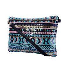 Ladies Sequin Clutch Bag Black Blue Teal Evening Crossbody Shoulder Handbag New
