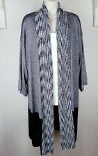 Chico's Betty Black-and-White Cardigan Duster Sz 1 10 Medium Knit Sweater Jacket