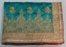 Bollywood Indian Traditional Art Silk Kundan Work Saree Sari Bridal Party Dress