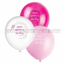 "Magical Unicorn & Princess Birthday Girls Pink & White 12"" Latex Balloons x 8"