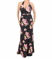 New Black and Pink Floral Maxi Dress - Halter Neck