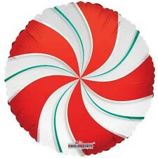 """CHRISTMAS CANDY CANE RED & GREEN SWIRL WILLY WONKA SWEET 18"""" FOIL BALLOON!"""