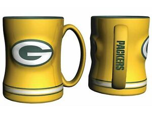 Green Bay Packers 14oz Sculpted Relief Coffee Mug NFL - YELLOW VERSION
