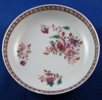 Antique 18thC Chinese Export Porcelain Single Saucer Porzellan Untertasse China