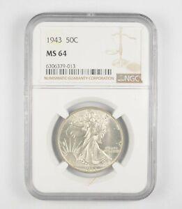 1943 MS64 Walking Liberty Half Dollar - Graded By NGC - Choice Unc *248