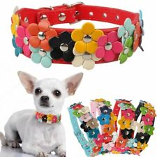 Leather Puppy Dog Collar Cat Neck Strap Pet Necklace Colorful Flower Deco Soft 9