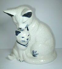 The Potting Shed Mother Cat Washing Kitten Crazed Crackle Glaze Figurine Dedham