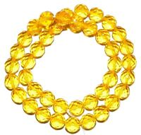 Citrine Czech Glass Machine Cut Faceted Round Crystal Beads rich yellow color