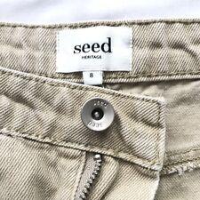 Seed Hertiage Size 8 Mini Beige Denim Distress Raw Hem Skirt