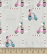 French Poodle Dog Multi and Cars Craft Quilt Flannel Cotton Fabric One Yard