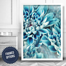 ABSTRACT Aqua Blue Flower Floral Nature Art PRINT Poster