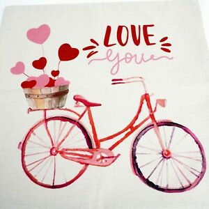 """LOVE YOU Pillow Cover 17""""x17"""" Square Pink Bicycle Hearts Tan Background NWOP"""