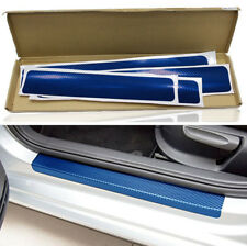 4x Blue Carbon Fiber Look Car Door Sill Scuff Threshold Protector Sticker Cover