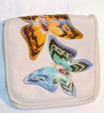 WHITE LEATHER GENUINE BUTTERFLY LEATHER HAND PAINTED LADIES SHOULDER HANDBAG