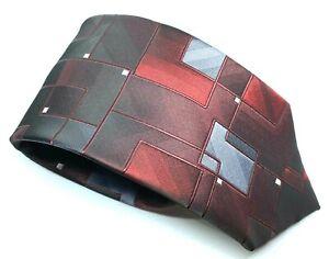 "ABSTRACT John Ashford Men's Tie Red Grey Polyester 3.25"" Width 60"" Long"