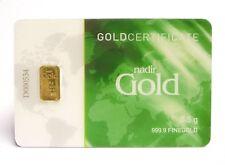 * 0,5 g / 1/2 Gramm Gold Goldbarren Barren Bullion / 999,9 Feingold NADIR *