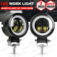 2X 3 Inch LED Work Light Bar Spot Pods Driving Fog White Halo Off road Truck 4WD