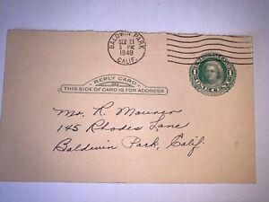 US Stamps SC# UY6r Martha Washington postal reply card 1c 1911
