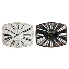 LARGE CURVED HANDCRAFTED RECTANGULAR BLACK CREAM ROMAN NUMERALS METAL WALL CLOCK
