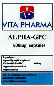 HIGH STRENGTH ALPHA 99% GPC 600mg 60 capsules COGNITIVE FUNCTION BRAIN HEALTH