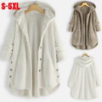 Womens Fleece Hoodie Warm Hooded Coat Ladies Winter Casual Long Jacket Plus Size