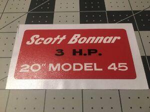 "Scott Bonnar 3 H.P. 20"" Model 45 Decal Reproduction 3-1/2"" Australia"