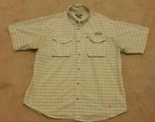 COLUMBIA PFG LARGE green/gold/blue plaid mens short sleeve shirt
