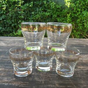 Vintage Set Gold Greek Key Rocks Glass Barware Glassware MCM (5pcs) Retro Bar