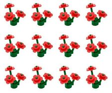 12x Lego plants Red flowers for the city