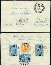 CROATIA 1924 REGISTERED ENVELOPE KARLOVAC...SURCHARGE STAMPS to AUSTRIA