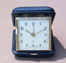 Réveil à clé voyage JAPY vintage ancien cuir noir FONCTIONNE old alarm clock