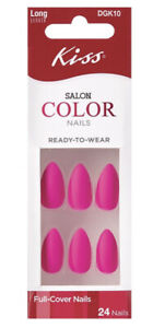 Kiss SALON COLOR Long Length Full Cover Matte Pink Magenta Stiletto Shaped Nails