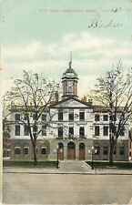 Hartford Connecticut~City Hall~Clock Tower~Lampposts 1909 Postcard