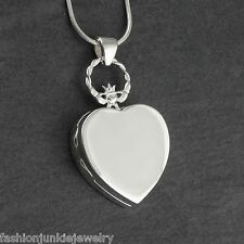 Claddagh Heart Locket Necklace - 925 Sterling Silver - Keepsake Two Photos SN