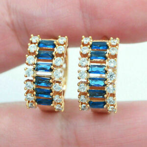 2CT Baguette Cut London Blue Topaz & Diamond Hoop Earrings 14K Yellow Gold Over