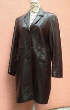 Black Leather Coat UK 14 Ladies Knee Button up Soft EU 42 Taylor Goth Retro Punk