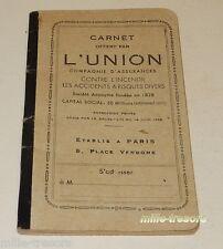 """CARNET publicitaire """"offert par L'UNION Compagnie d'Assurances"""" - Place VENDOME"""